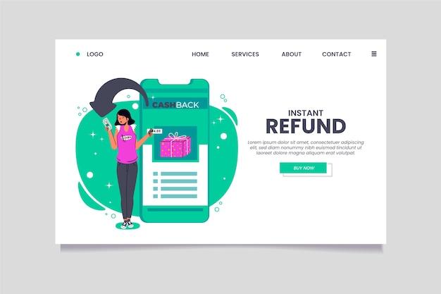 Modelo de página de destino de reembolso instantâneo de cashback