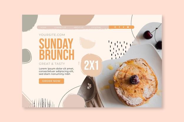 Modelo de página de destino de restaurante de comida de brunch de domingo