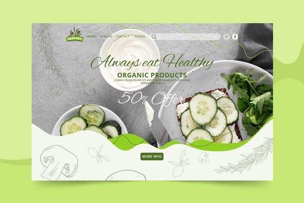 Modelo de página de destino de restaurante de comida saudável