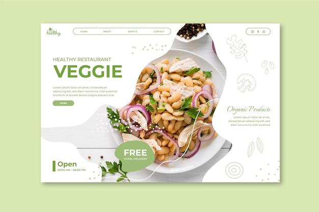 Modelo de página de destino de restaurante saudável
