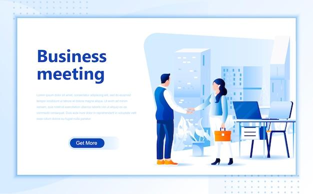 Modelo de página de destino de reunião de negócios da página inicial