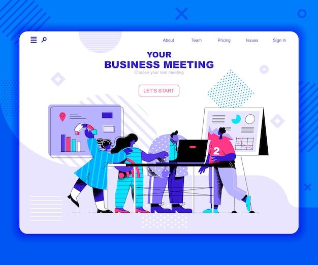 Modelo de página de destino de reunião de negócios