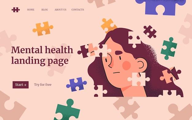 Modelo de página de destino de saúde mental desenhado à mão