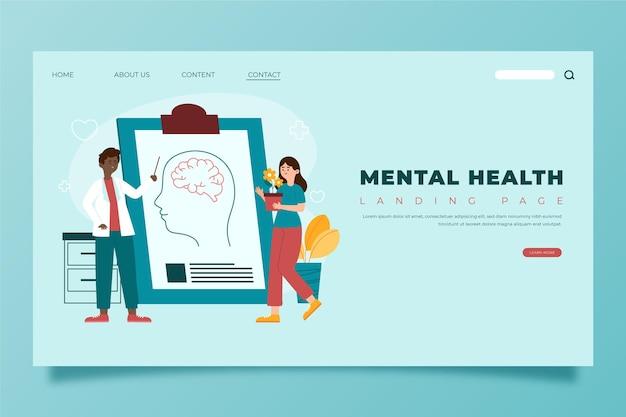 Modelo de página de destino de saúde mental plana