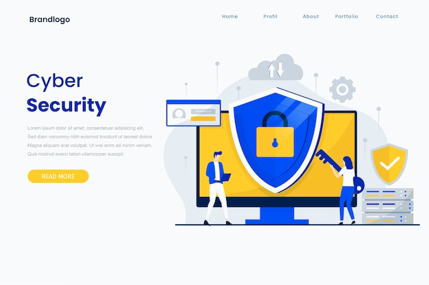 Modelo de página de destino de segurança cibernética.
