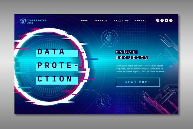 Modelo de página de destino de segurança cibernética