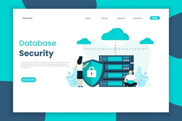 Modelo de página de destino de segurança do banco de dados