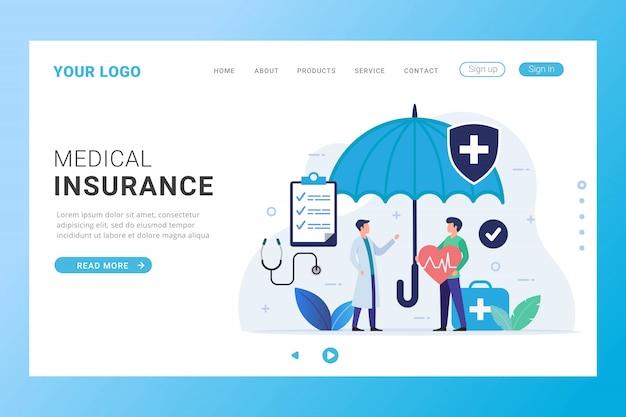 Modelo de página de destino de seguro médico