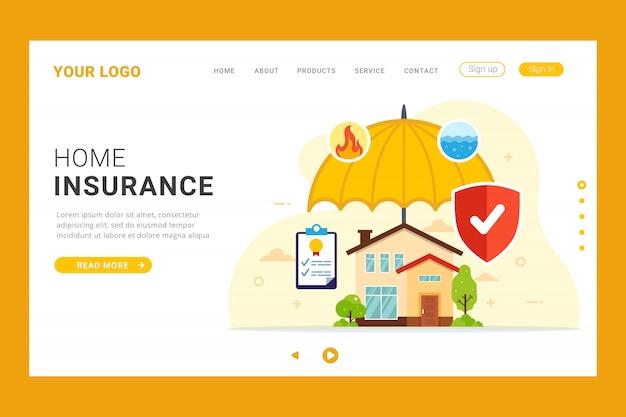 Modelo de página de destino de seguro residencial
