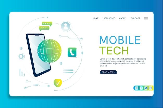Modelo de página de destino de seo de tecnologia móvel