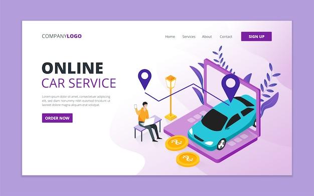 Modelo de página de destino de serviço de carro online