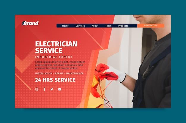 Modelo de página de destino de serviço de eletricista