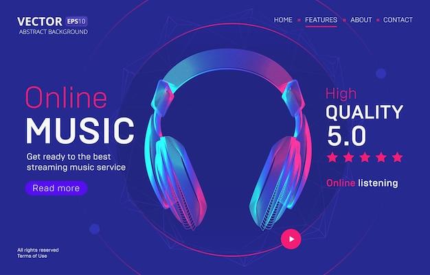 Modelo de página de destino de serviço de streaming de música online com uma classificação de alta qualidade. ilustração abstrata delineada da silhueta de fones de ouvido sem fio em estilo de arte de linha neon