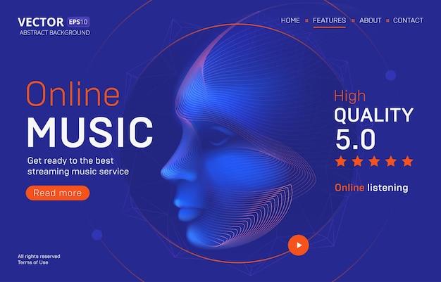 Modelo de página de destino de serviço de streaming de música online com uma classificação de alta qualidade. ilustração abstrata delineada de uma silhueta de cabeça de um humano cibernético ou andróide em estilo de linha de arte neon