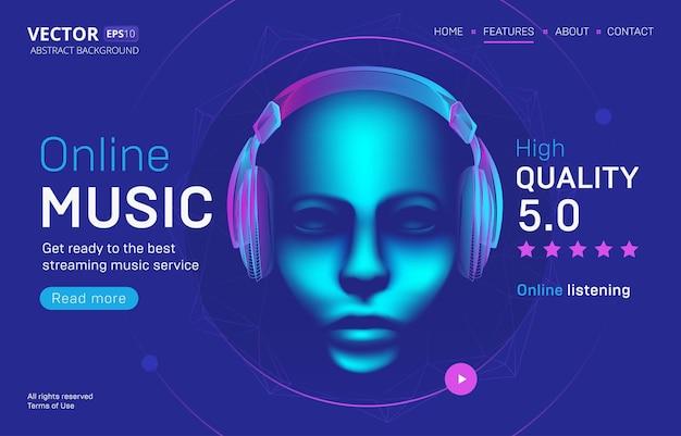 Modelo de página de destino de serviço de streaming de música online com uma classificação de alta qualidade. ilustração resumida da cabeça humana cibernética com a silhueta de fones de ouvido sem fio no estilo de linha de arte neon