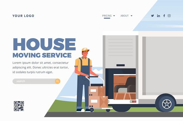 Modelo de página de destino de serviços de mudança de casa com caminhão