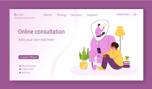 Modelo de página de destino de serviços psicológicos online