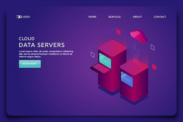 Modelo de página de destino de servidores de dados