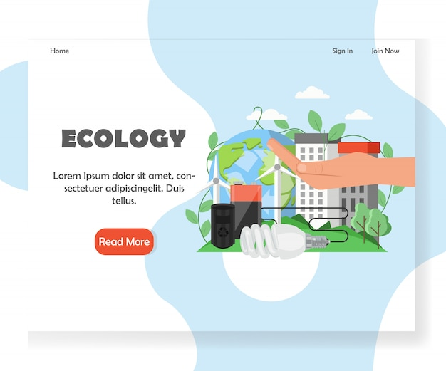 Modelo de página de destino de site de ecologia