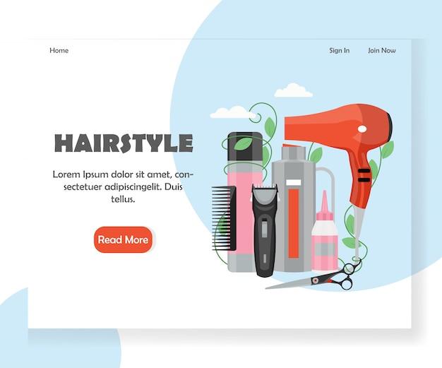 Modelo de página de destino de site de penteado