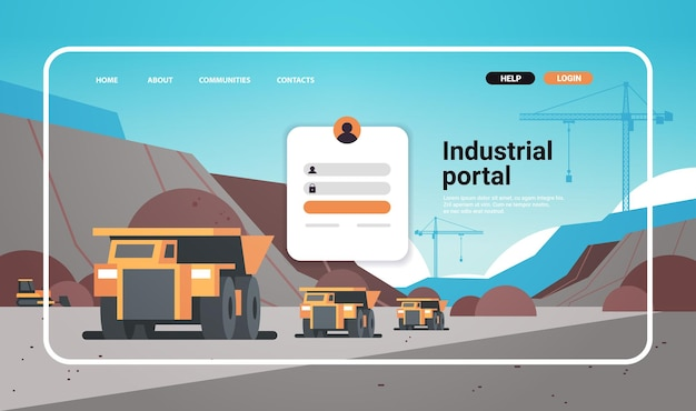 Modelo de página de destino de site de portal industrial indústria de mineração a céu aberto com caminhões para ilustração vetorial de espaço de cópia horizontal de carvão antracito