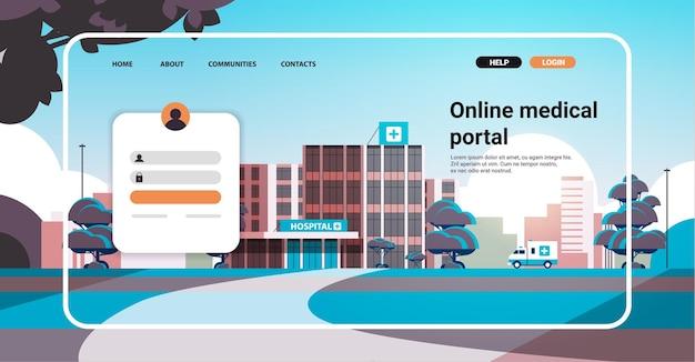 Modelo de página de destino de site de portal médico online com conceito de saúde de consulta online de construção de clínica