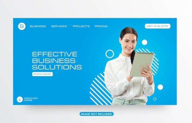 Modelo de página de destino de site de soluções de negócios corporativos