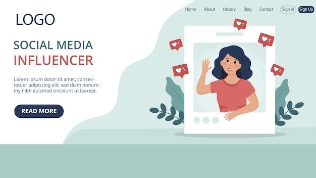 Modelo de página de destino de site do influenciador de mídia social