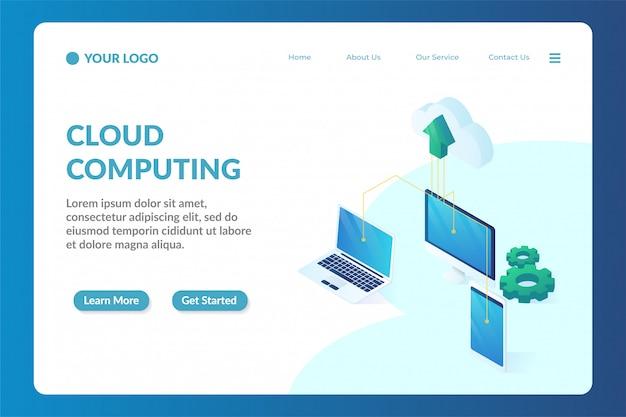 Modelo de página de destino de site isométrico de computação em nuvem