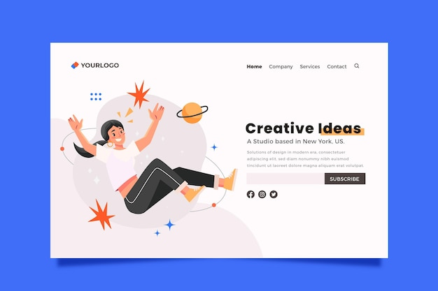Modelo de página de destino de soluções criativas