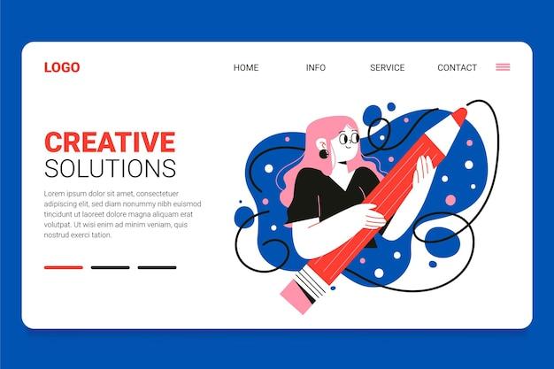 Modelo de página de destino de soluções de criativo plano orgânico