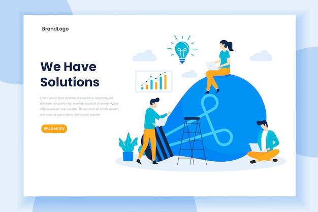 Modelo de página de destino de soluções de negócios
