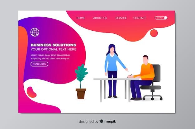 Modelo de página de destino de soluções empresariais