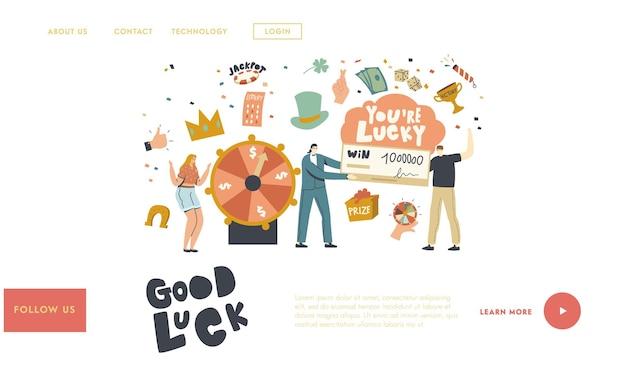 Modelo de página de destino de sorte e fortuna