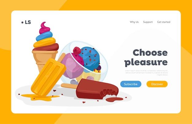 Modelo de página de destino de sorvete
