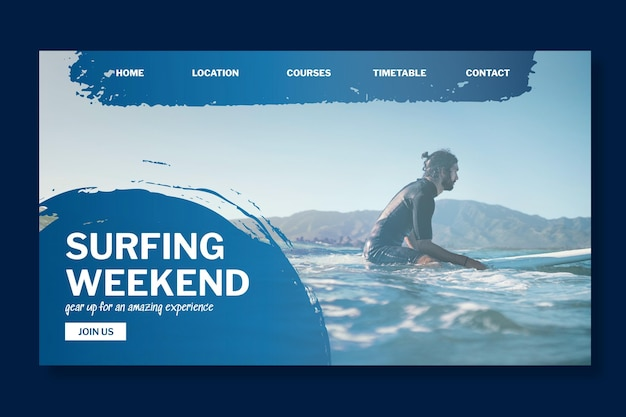 Modelo de página de destino de surf