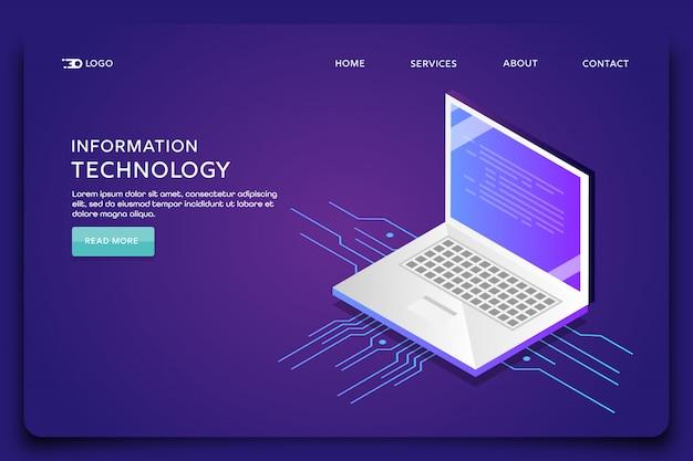 Modelo de página de destino de tecnologia da informação
