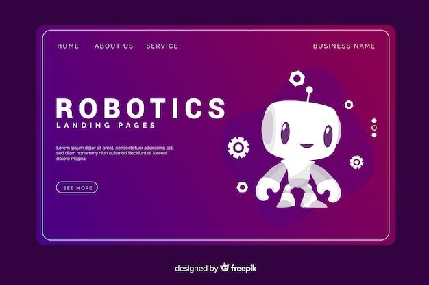 Modelo de página de destino de tecnologia de robótica