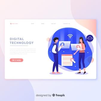 Modelo de página de destino de tecnologia digital