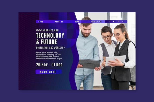 Modelo de página de destino de tecnologia e negócios futuros