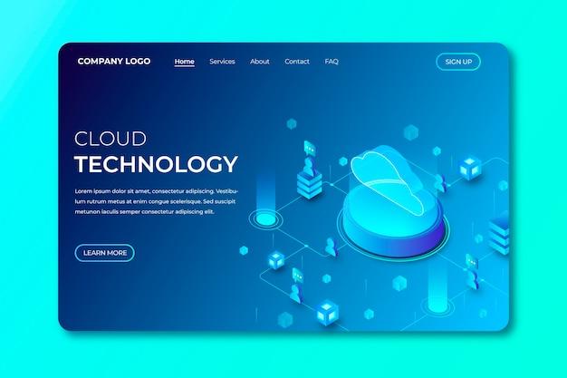 Modelo de página de destino de tecnologia isométrica