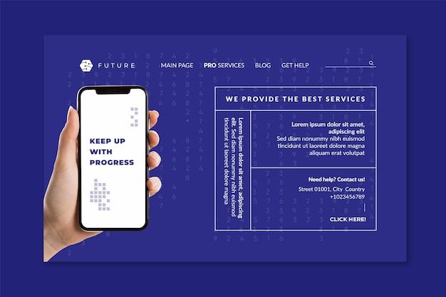 Modelo de página de destino de tecnologia móvel