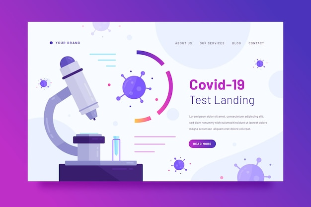 Modelo de página de destino de teste de coronavírus