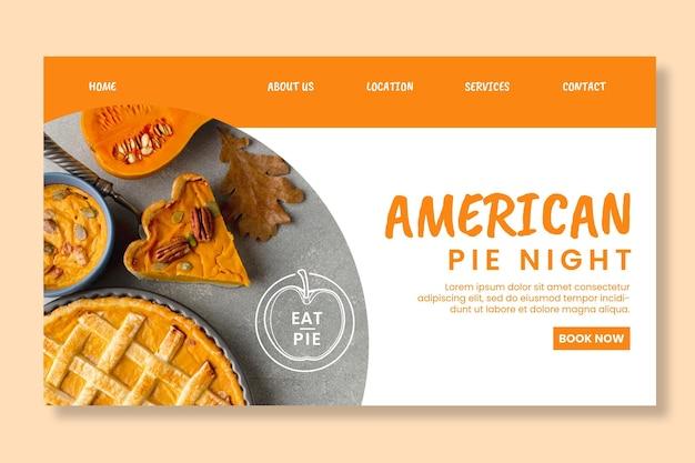 Modelo de página de destino de torta americana