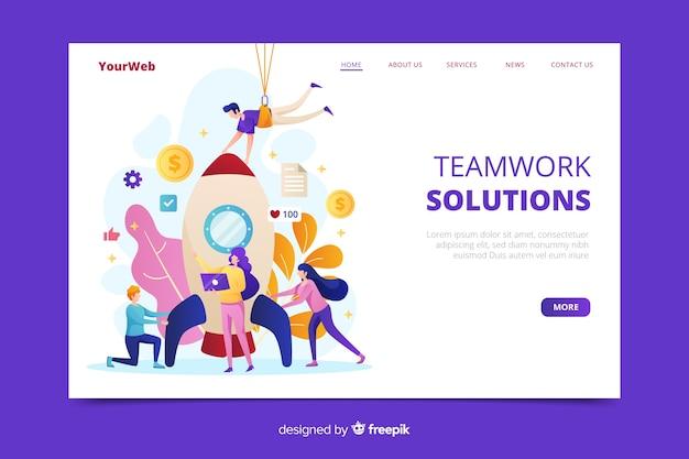 Modelo de página de destino de trabalho em equipe de negócios