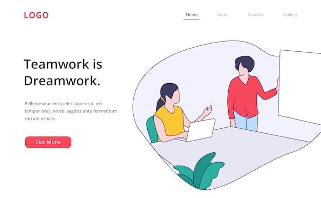 Modelo de página de destino de trabalho em equipe design plano moderno