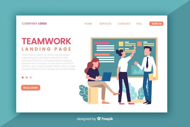 Modelo de página de destino de trabalho em equipe plana