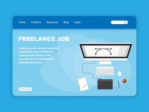 Modelo de página de destino de trabalho freelance
