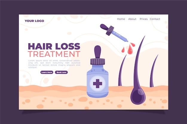 Modelo de página de destino de tratamento contra queda de cabelo desenhado à mão plana
