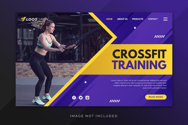 Modelo de página de destino de treinamento crossfit